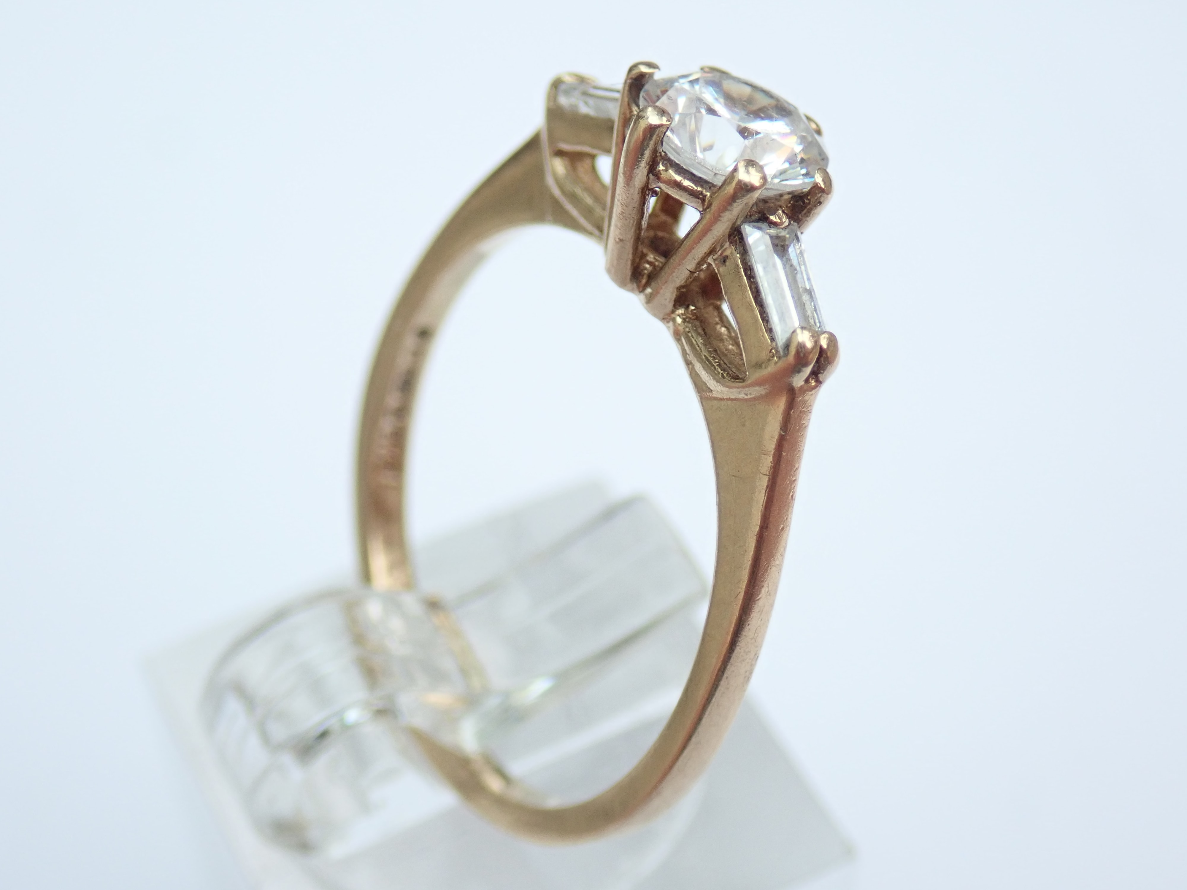 0.75 carat Cubic Zirconia Solitaire Ring with side stones 9 carat Gold Size Q #40