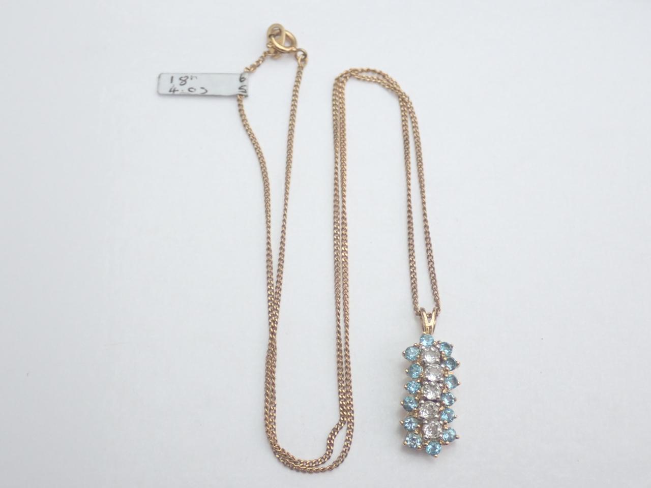 London Blue white Topaz Pendant 375 9k Yellow 18 inch chain Necklace #65