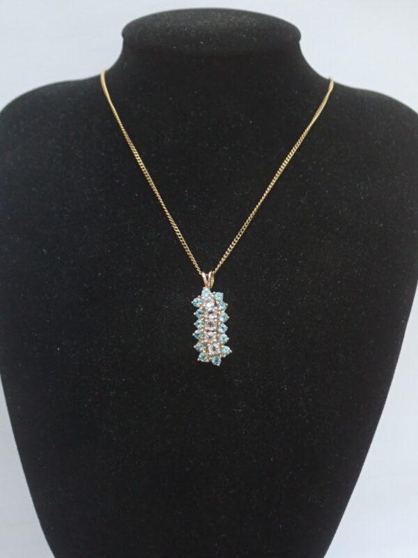 London Blue white Topaz Pendant 375 9k Yellow 18 inch chain Necklace