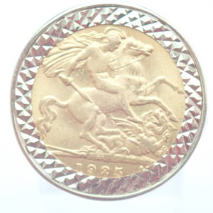 1925 22ct Gold Half Sovereign Ring – Solid 9ct Gold George Dragon mount