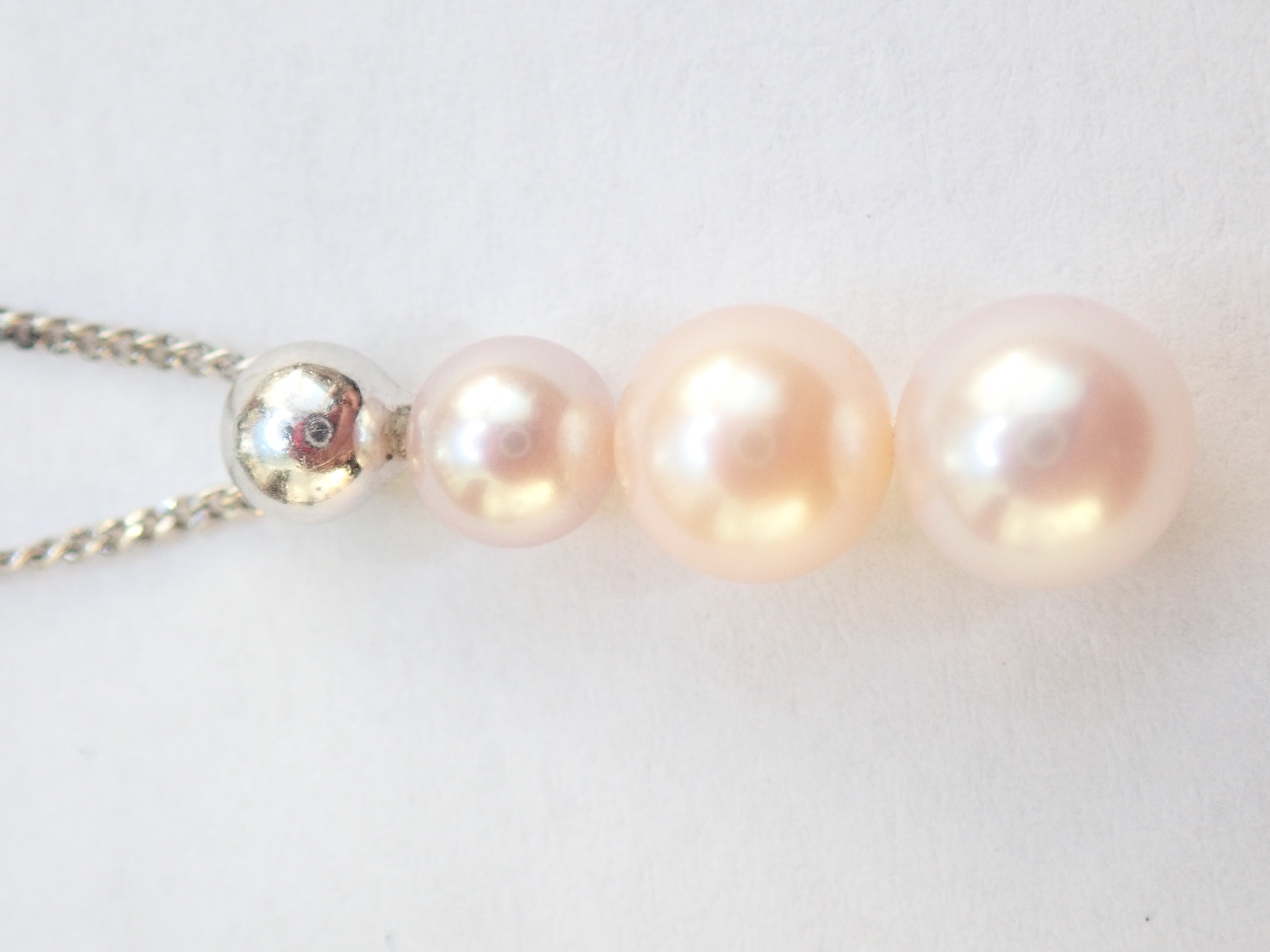 1.50ct 3x Graduated Pink Pearl Bar Pendant 20″ Necklace 375 White Gold 3.05g #45