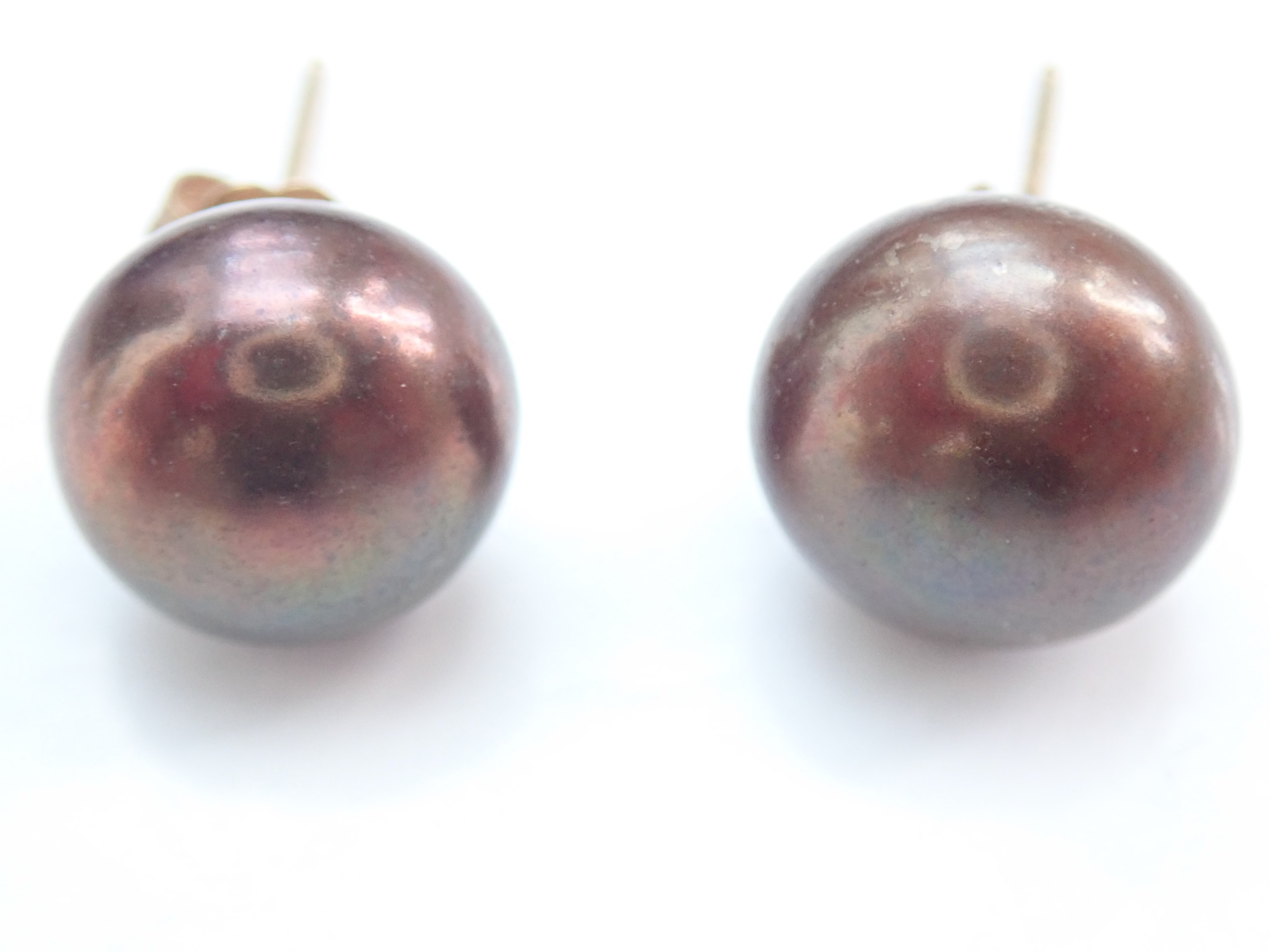 9k Yellow gold Natural Salt Water Black Pearl  Earrings Butterfly Backs 2.05g