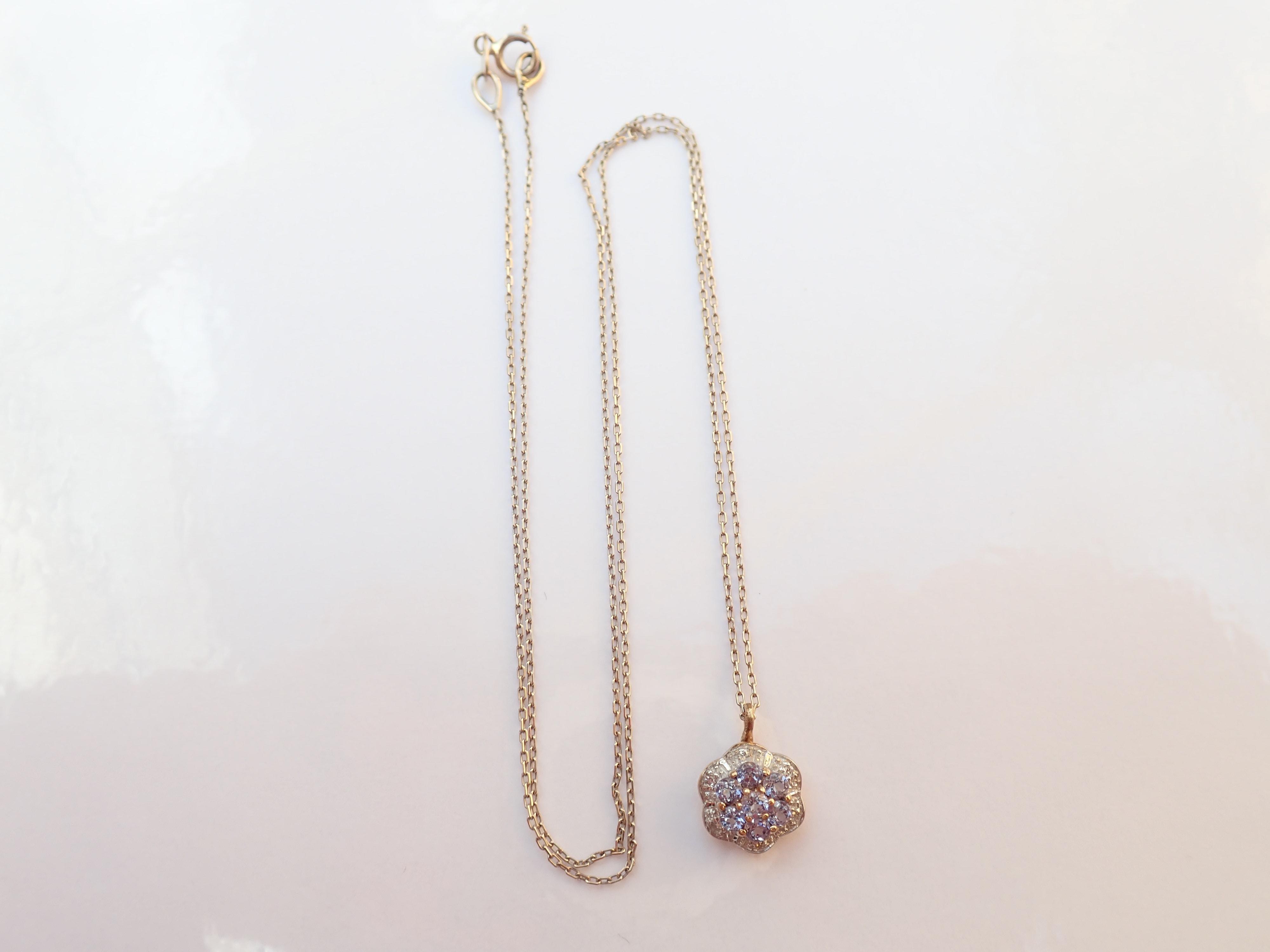 Beautiful!  Diamond and Tanzanite Flower Pendant 750 18k Gold 17″ chain Necklace 1.64g #60