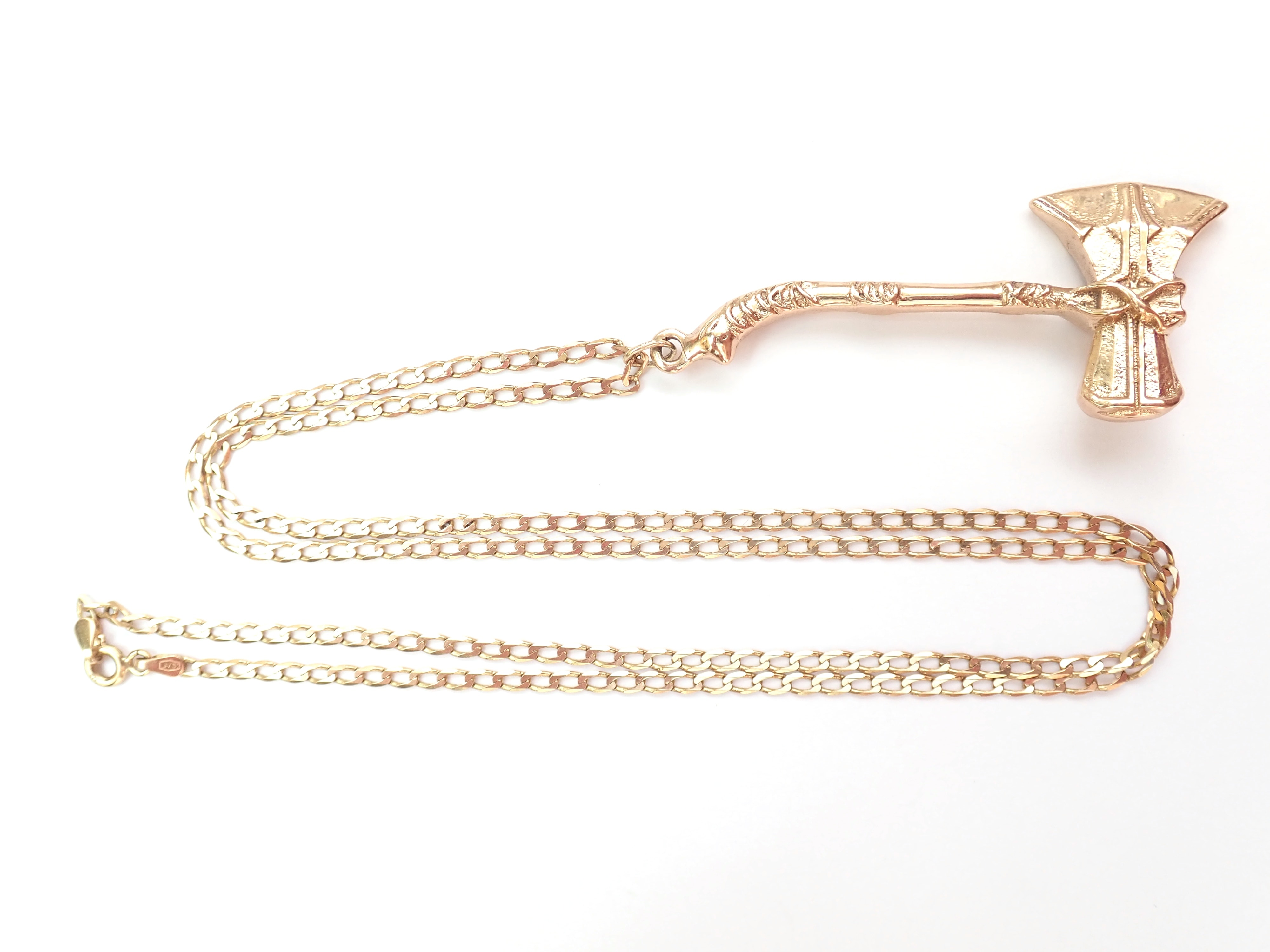 Handmade!! 9ct Gold Viking Axe Pendant with 22″ Curb chain 16.93g