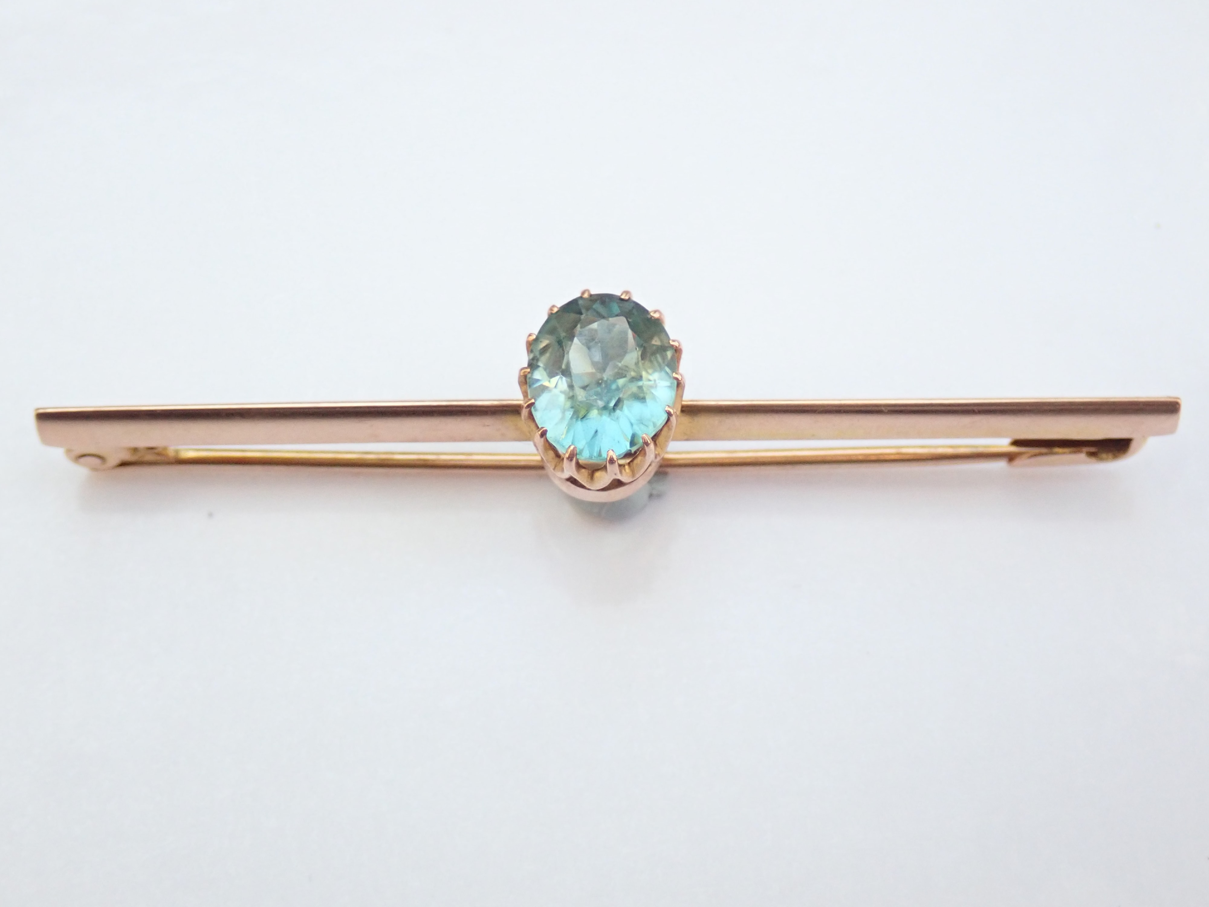 Antique!! 9ct Yellow Gold Pin Brooch with 1.50ct Aquamarine 2.0g #85