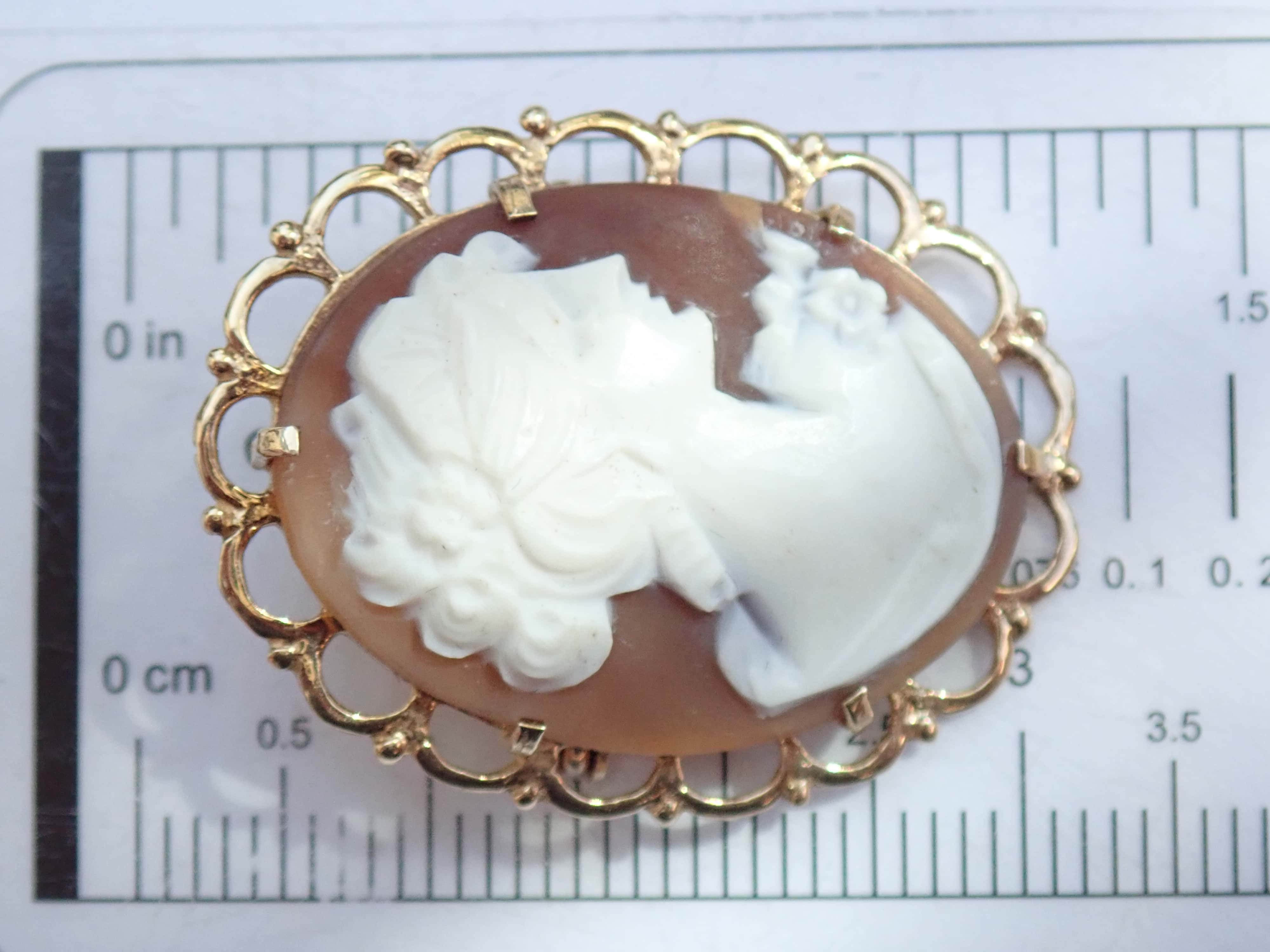 9ct Yellow Gold Cameo Brooch / Pendant 3.70g #40