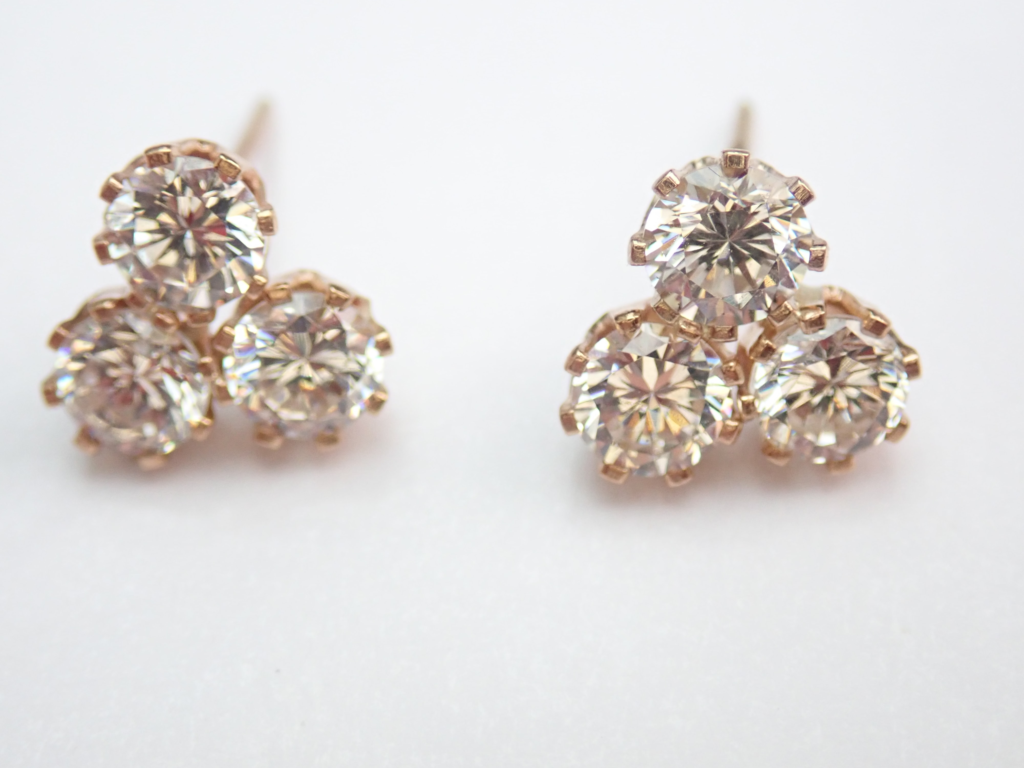 Beautiful! 9k Yellow Gold Trio Cubic Zirconia Earrings and Butterfly's 1.45gms #15
