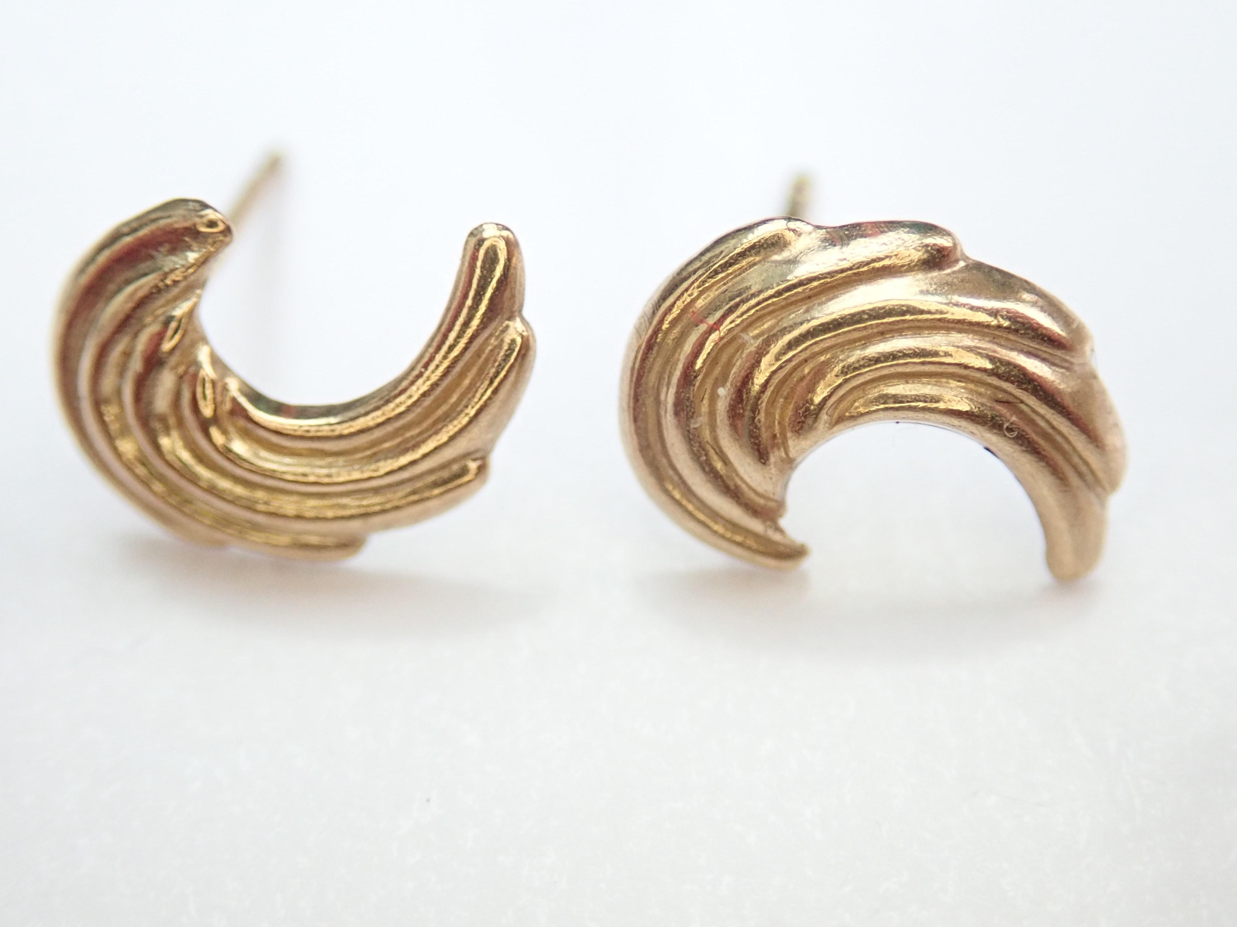 Solid 9k Yellow Patterned Wing Earrings & Butterfly's 0.25g #7