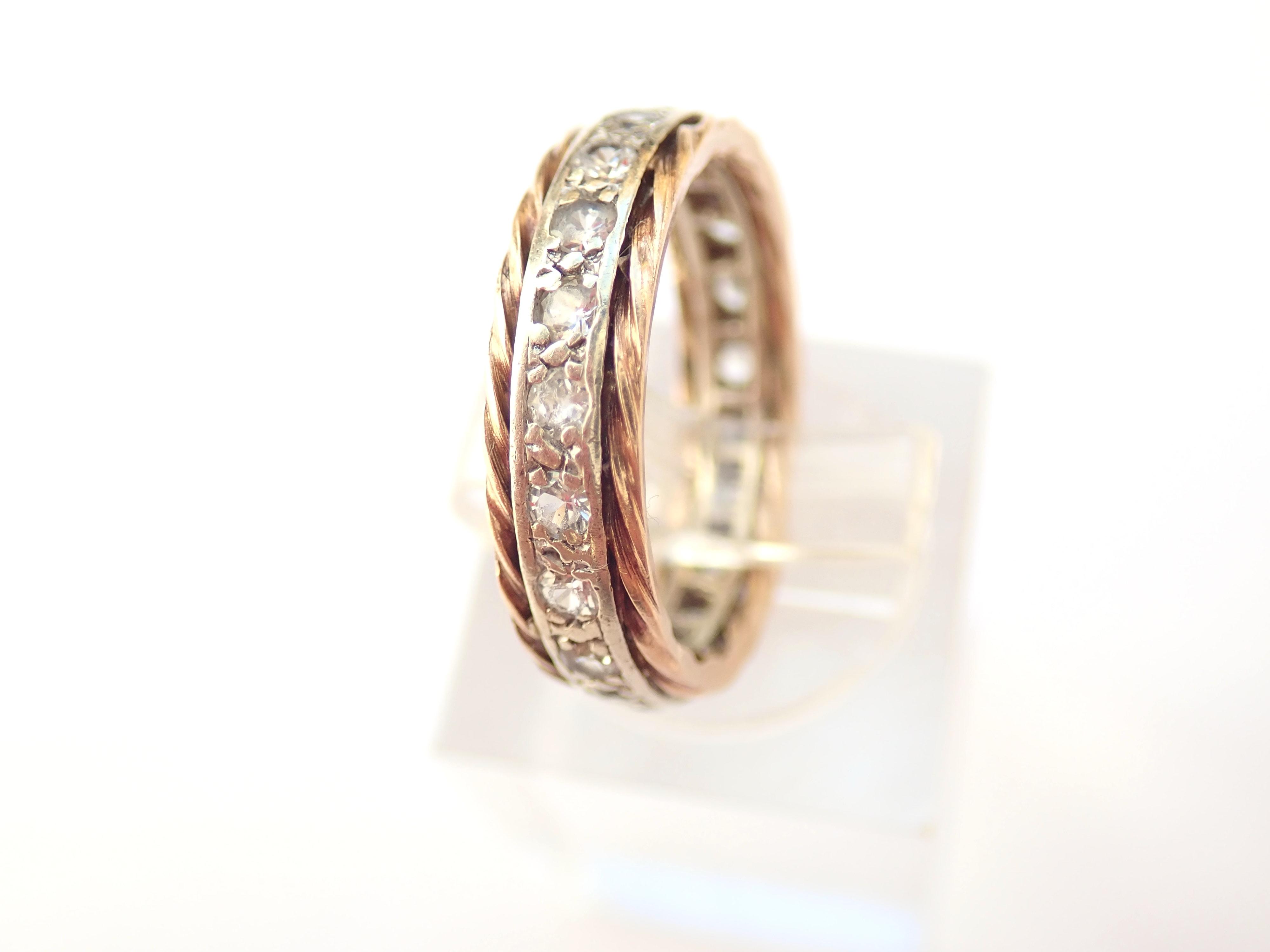375 9ct Yellow Gold Cubic Zirconia Full Eternity Ring Size K – 3.1gms #50