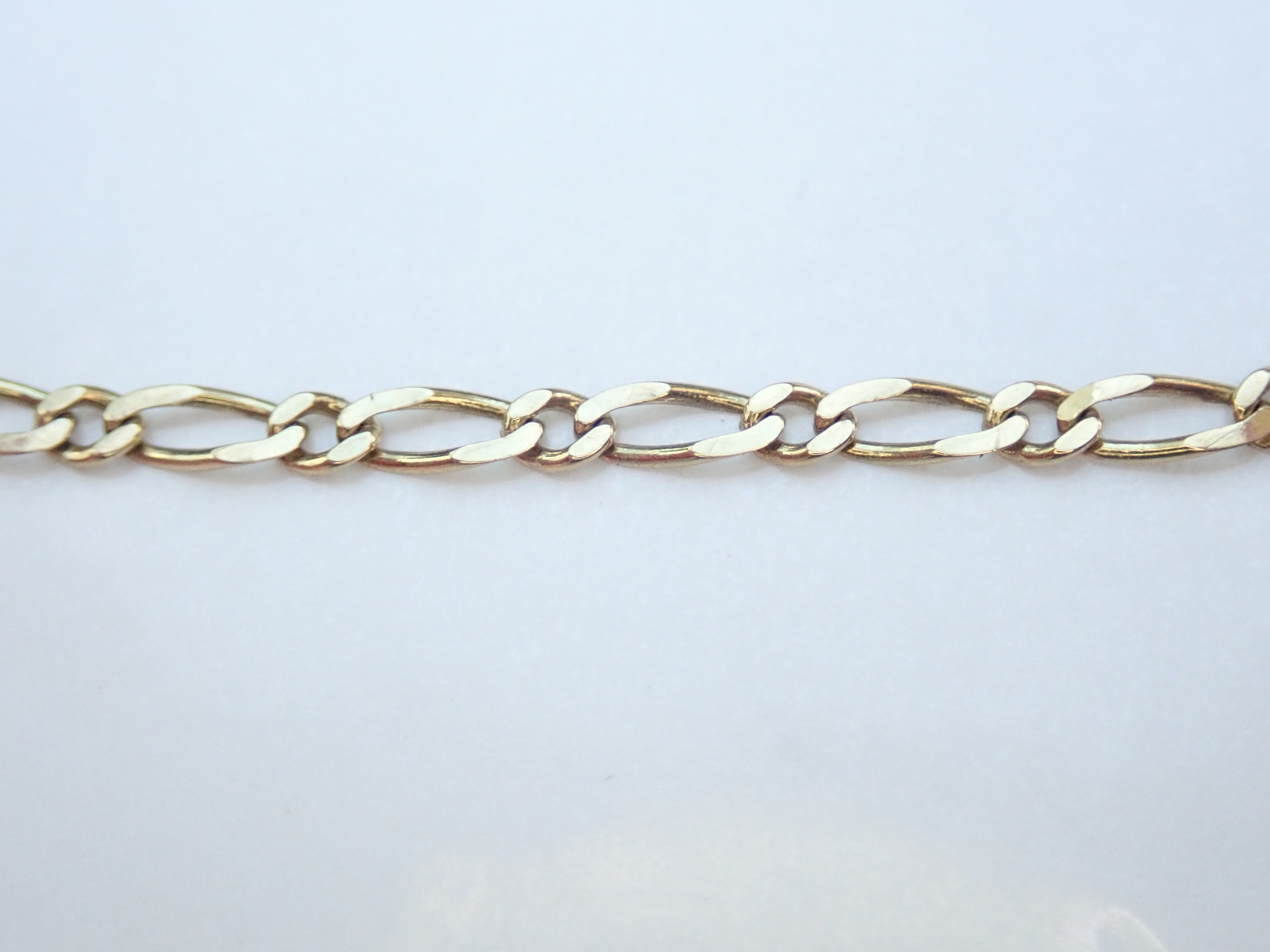 Solid 9K Yellow Gold Figaro Link Chain Bracelet 7″ – 1.3g  #31