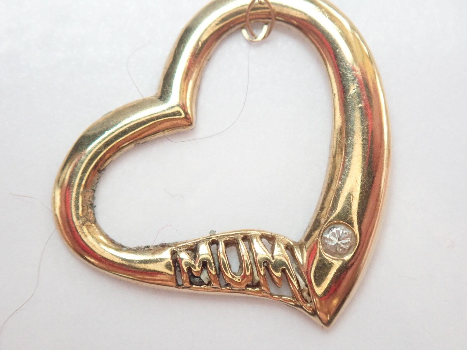 Mum Heart Gold Pendant