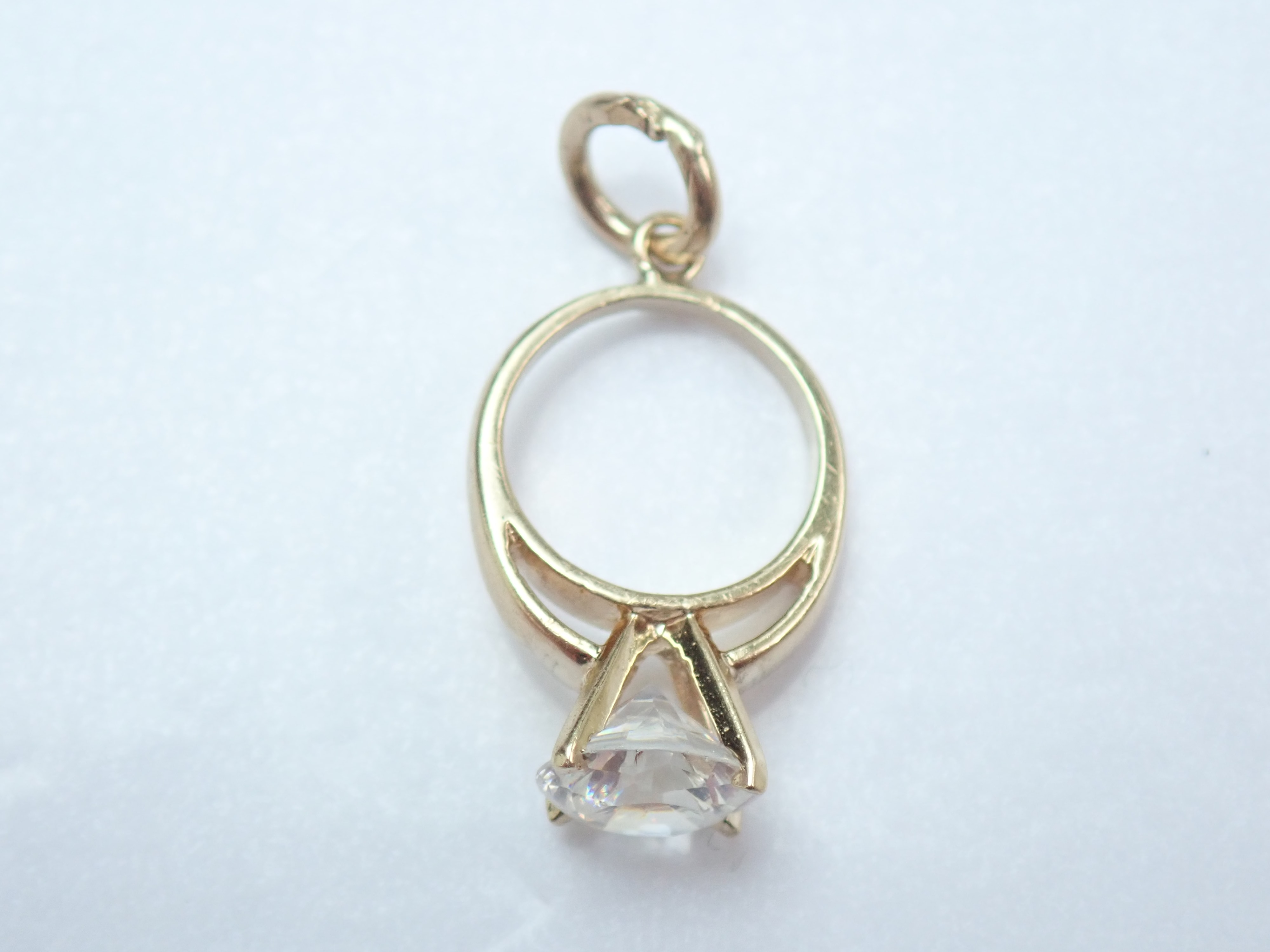 375 Yellow Gold Cubic Zirconia Solitaire Ring Pendant Charm -1.11gms #21