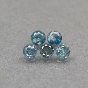 Rare! 5pcs Lot 0.37ct t.w 2.5-2.6mm Round Brilliant Natural Fancy Blue Diamond #41