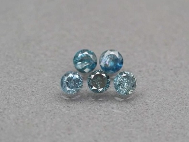 a 3 - Rare! 5pcs Lot 0.37ct t.w 2.5-2.6mm Round Brilliant Natural Fancy Blue Diamond #41