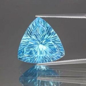 Amazing! Certified IF 20.87ct 17.8×17.4mm Trillion Concave Natural Swiss Blue Topaz #50