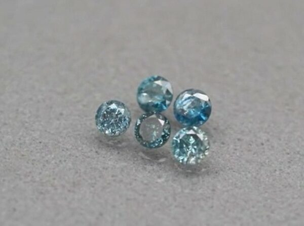 Rare! 5pcs Lot 0.37ct t.w 2.5-2.6mm Round Brilliant Natural Fancy Blue Diamond #41