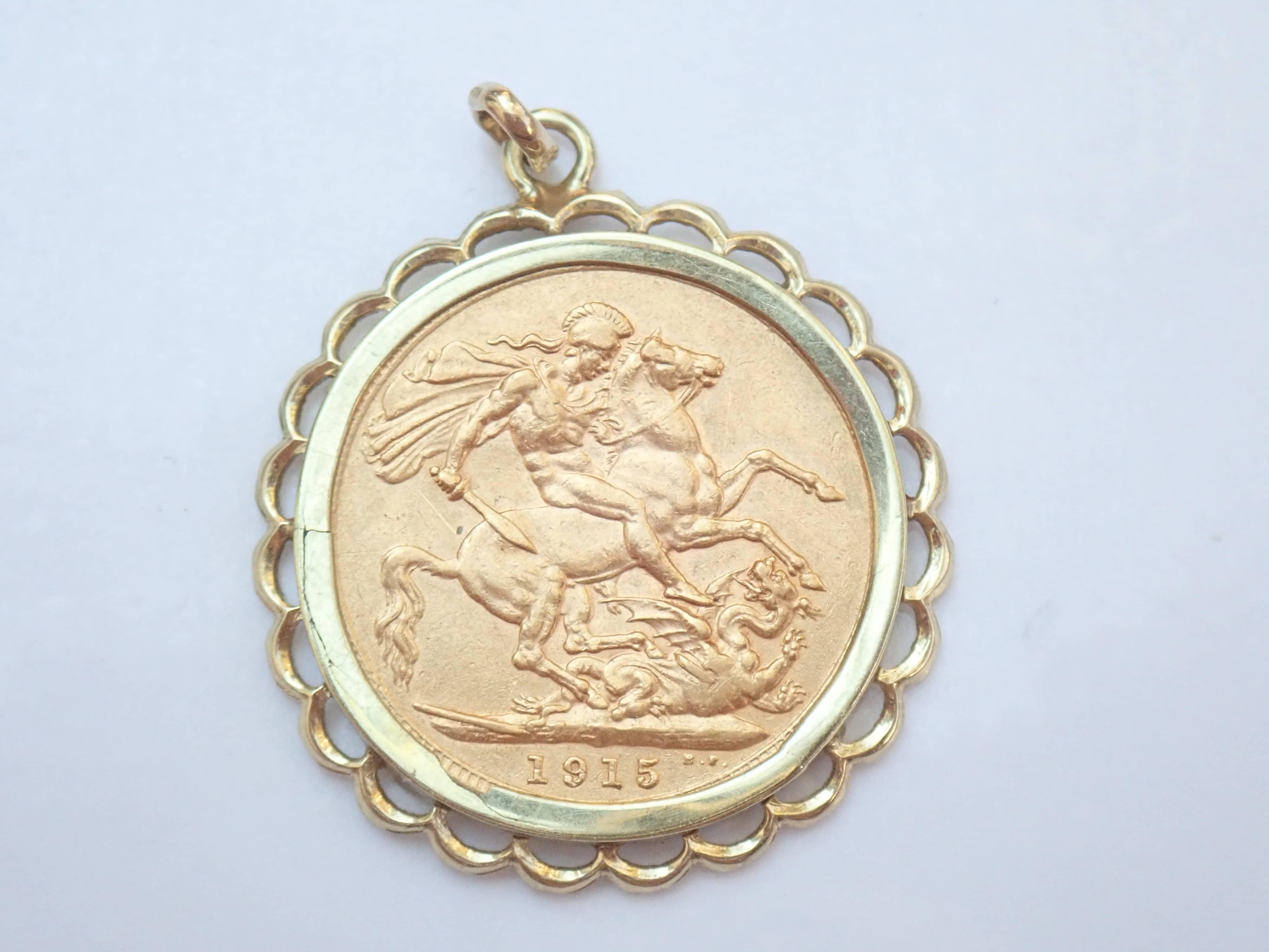 1915 Gold Full Sovereign Pendant No Chain – King George V -8.2gms #405