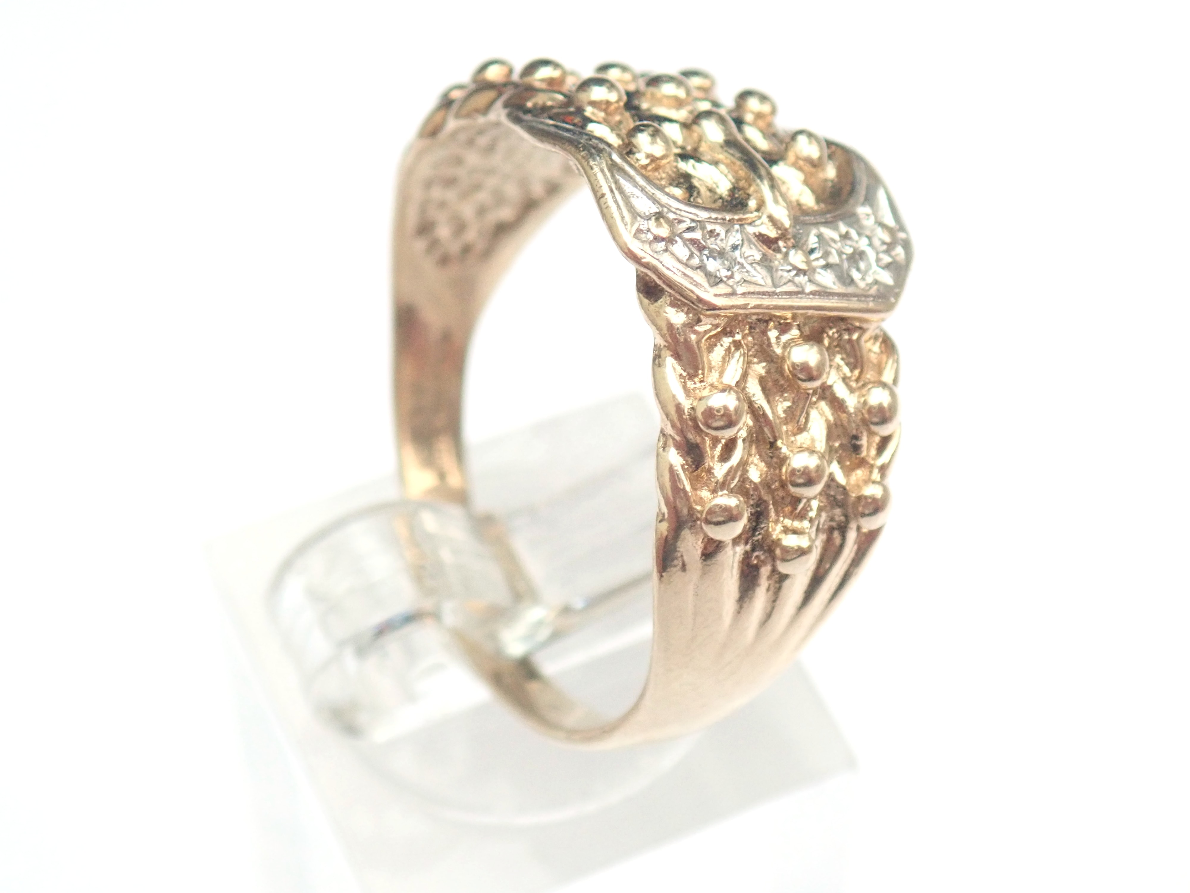 Vintage!! Diamond 9ct gold Buckle Keeper Ring 5.2gms Size W #210