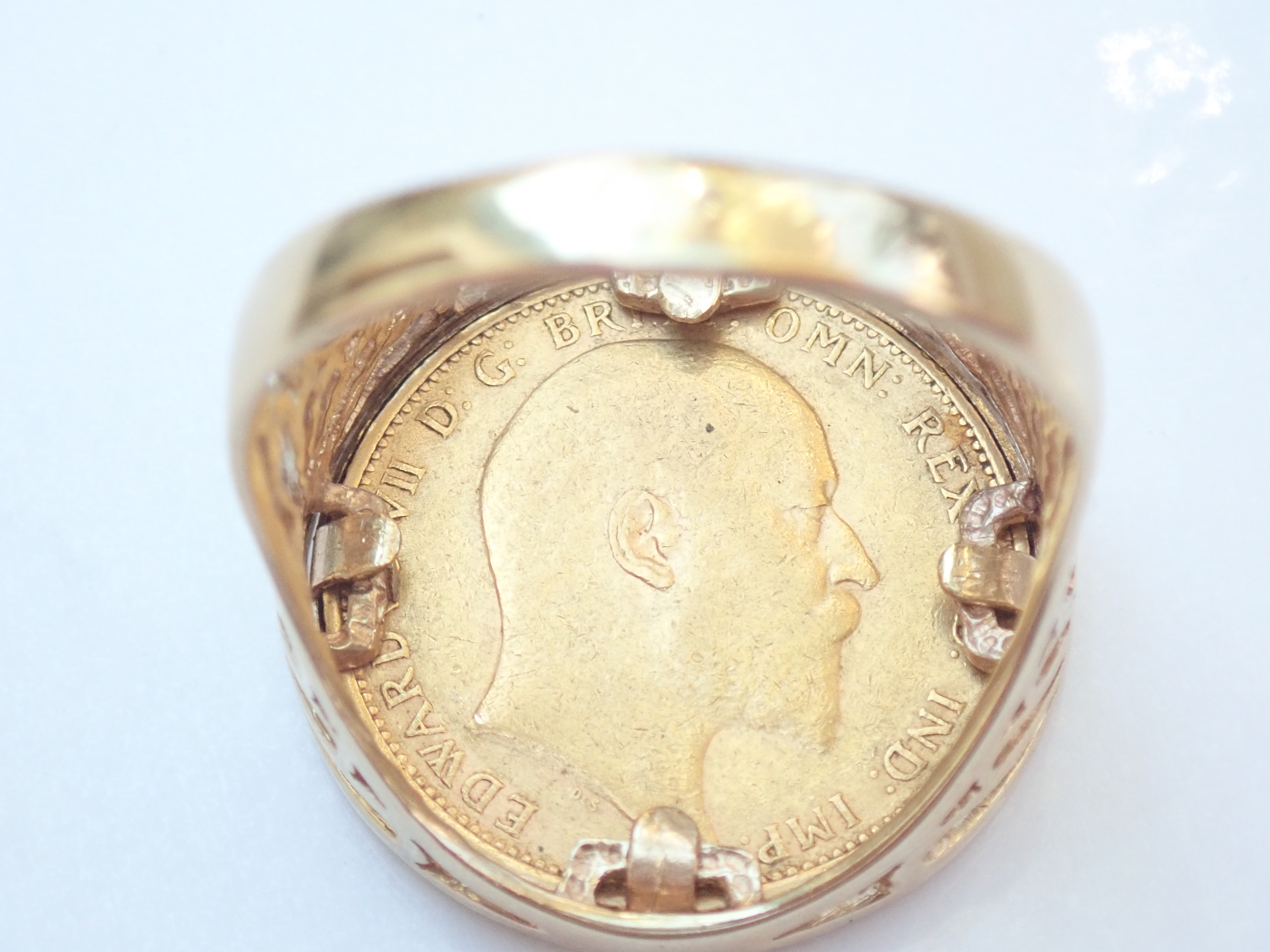 1905 22Cct Gold Full Sovereign Ring – Solid 9ct Gold Mount 13.5g #520