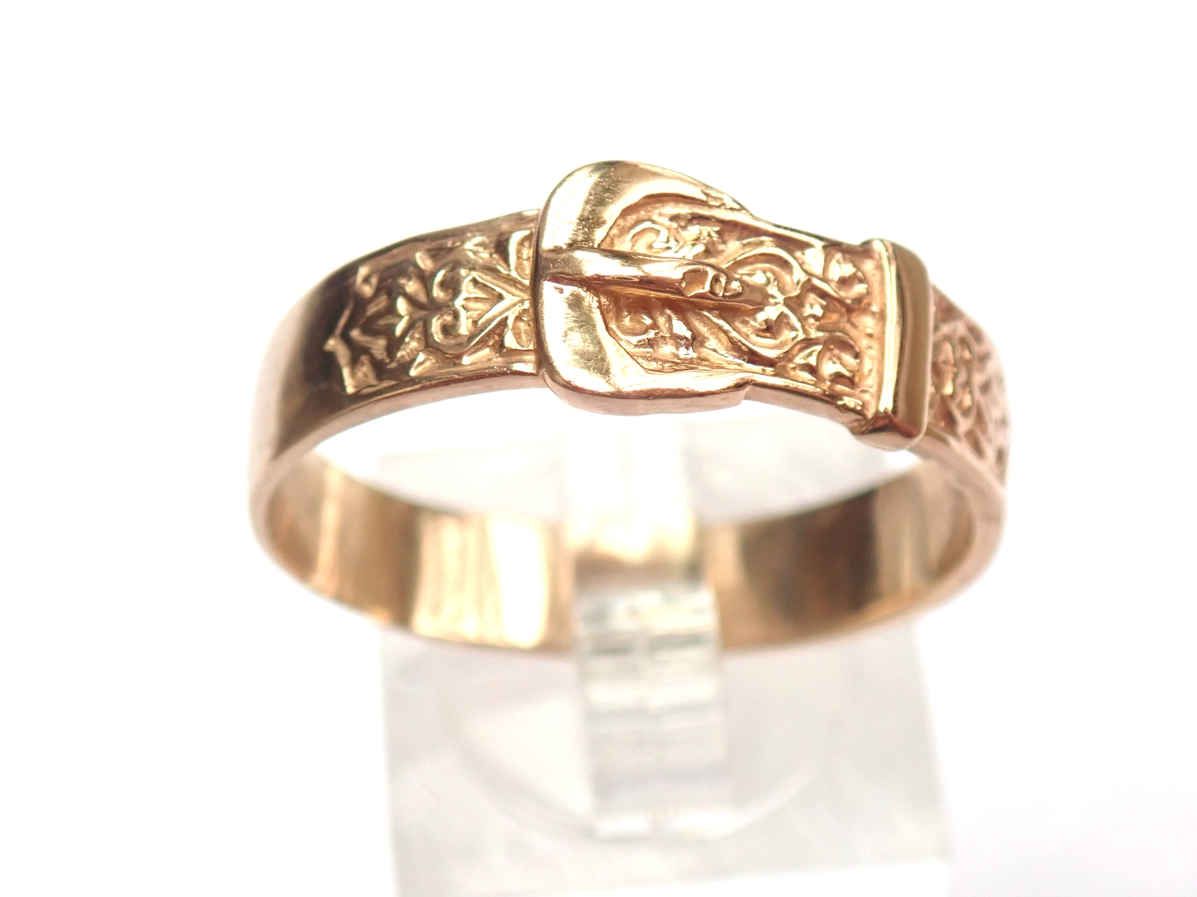 New!! Gold 9ct yellow gold hand finished Buckle Ring. 4.5gms Size Z+1 #185