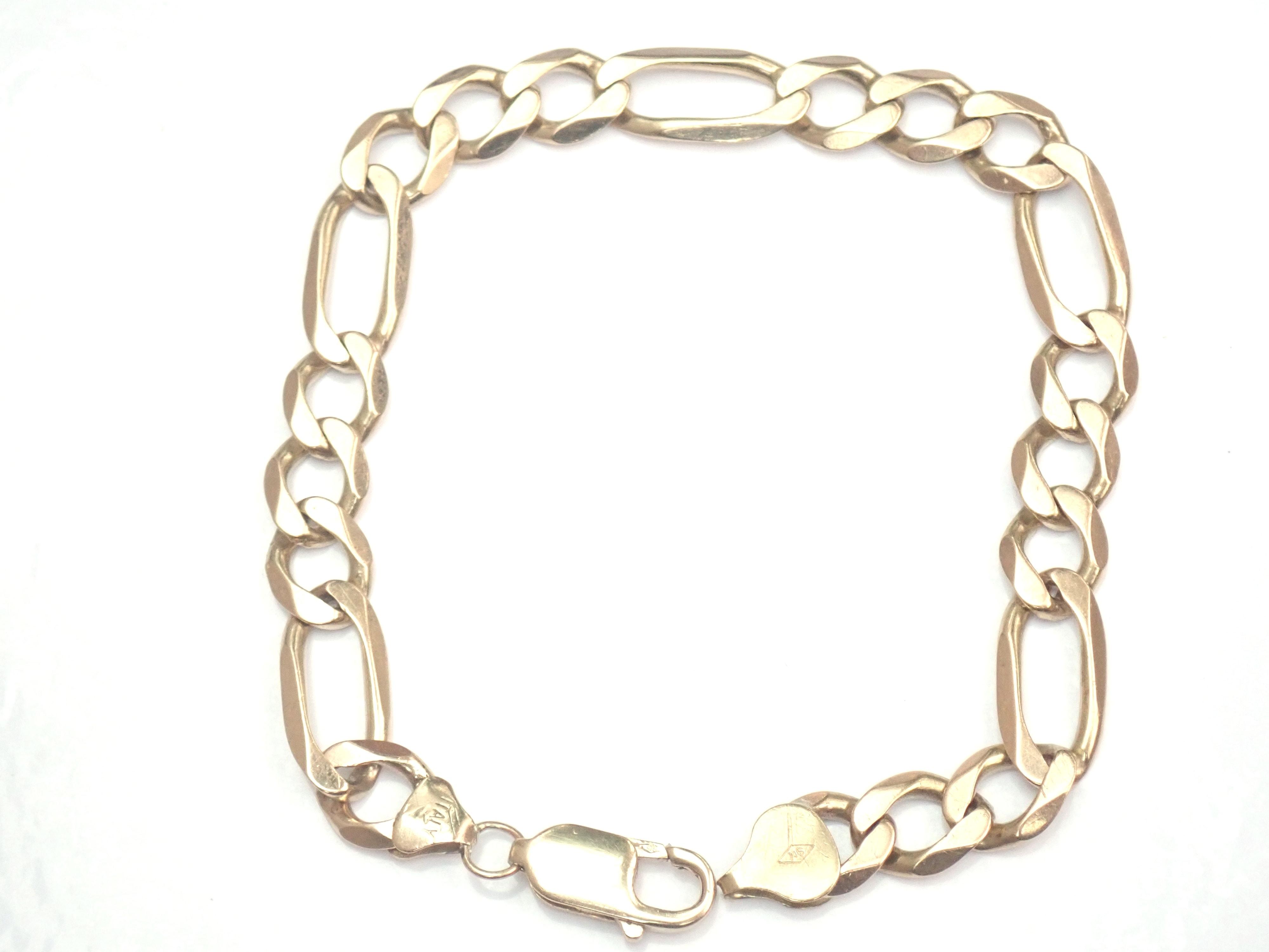 "AZZ00370 - 9k Gold Figaro link Bracelet 8.75"" - 15.52gms #310"