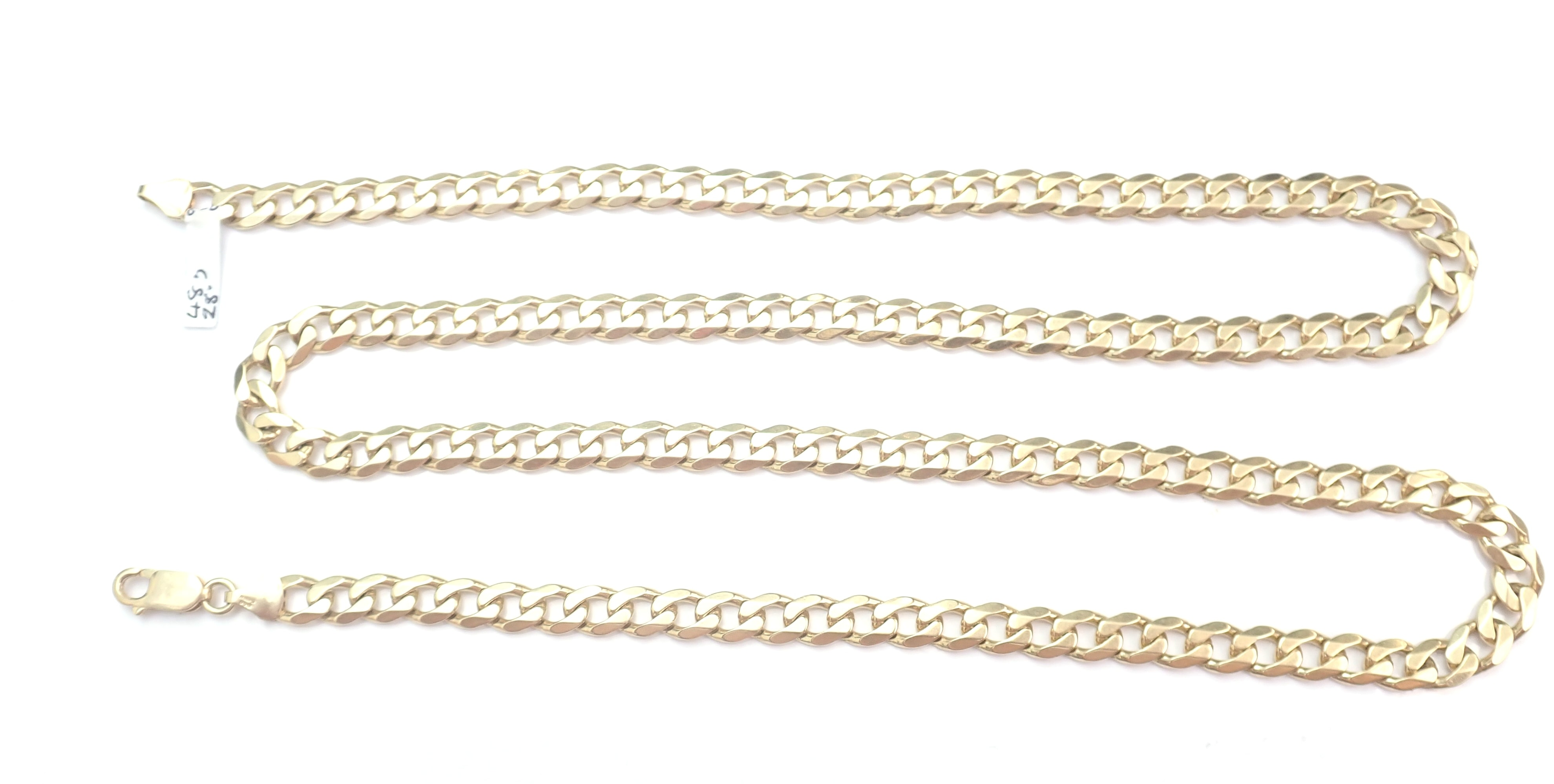 "AZZ00383 - 9ct 375 Yellow Gold Curb Chain 28"" 48gms. #910"