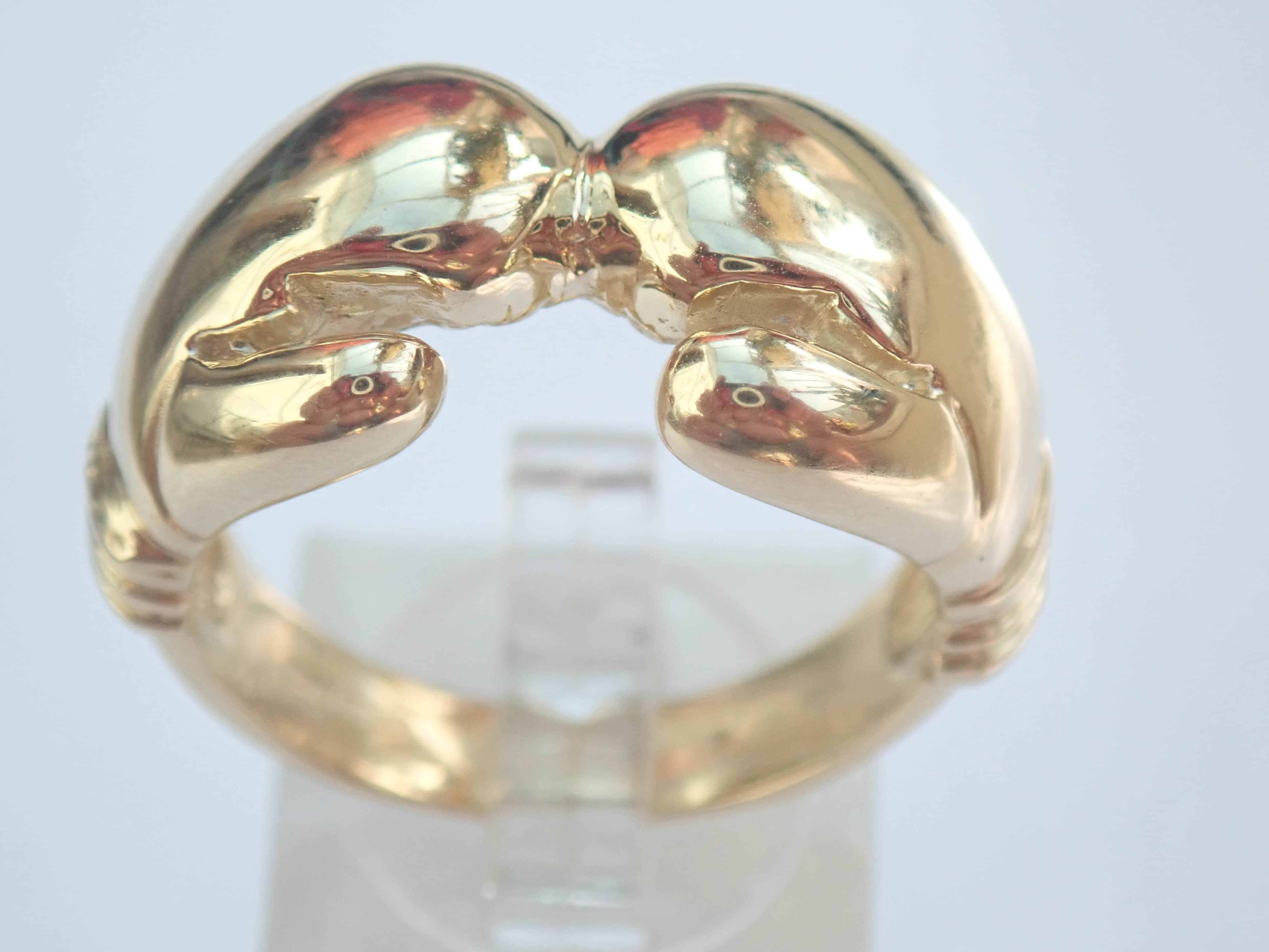 AZZ00506 - 375 Solid 9ct Yellow Gold Boxing Glove Ring Size X 16.6 gms #395