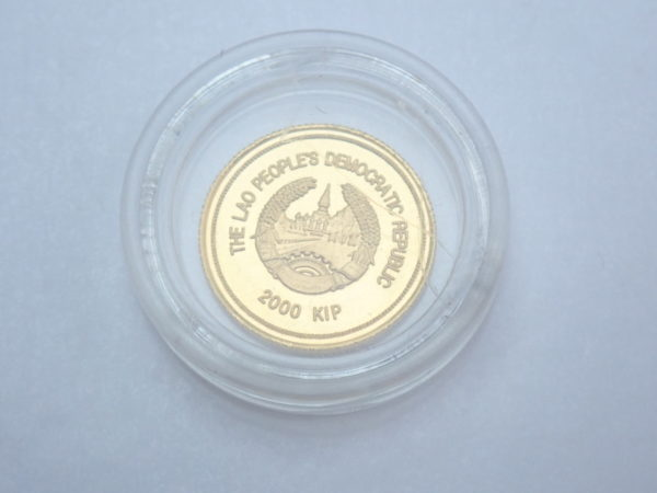 Laos 2000 kip That Luang Buddhism Shrine Architecture Solid 24ct Gold Coin 1998