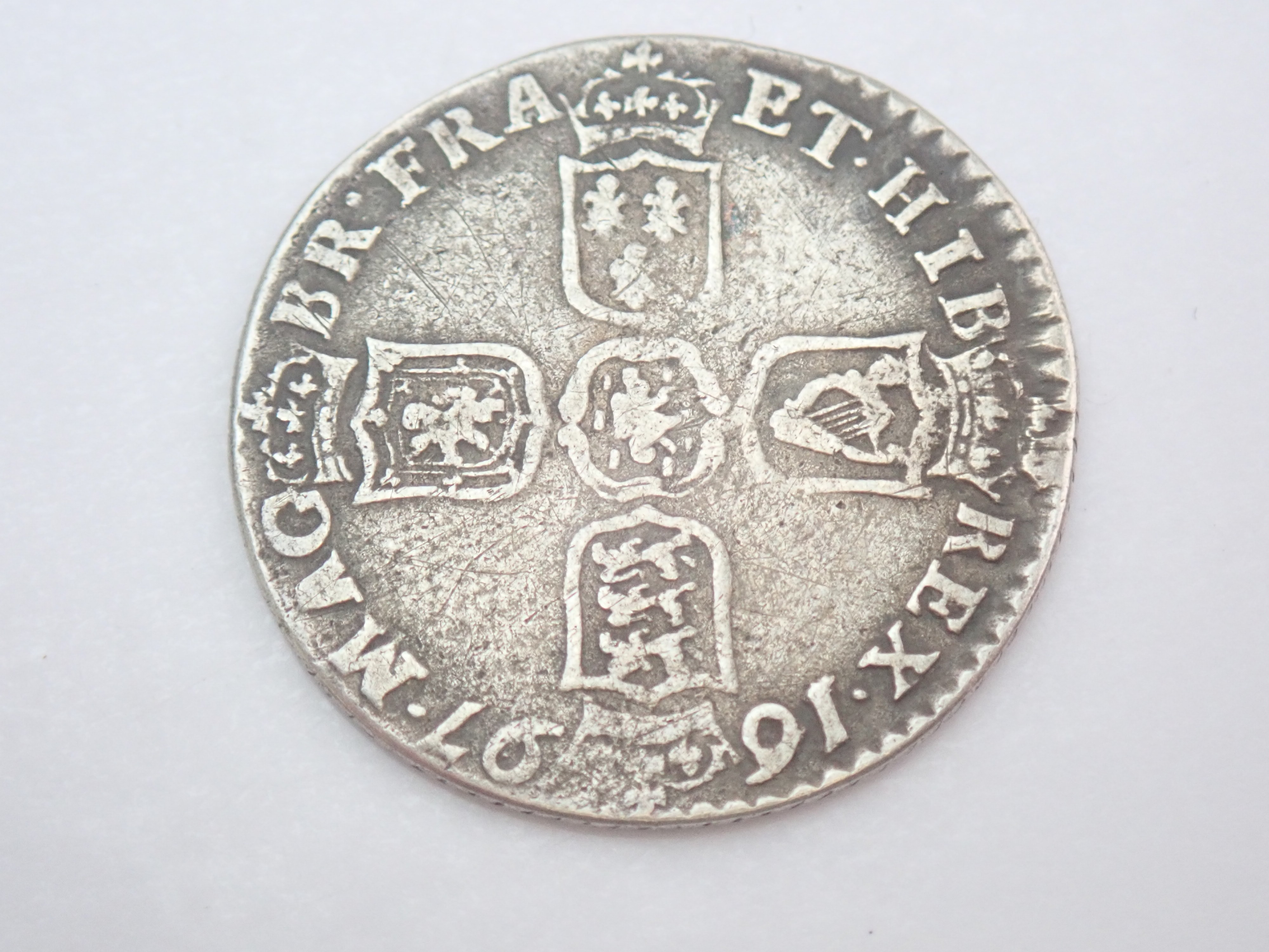 AZZ00794 - William III Silver Six Pence EF 1St Bust 1697- #50