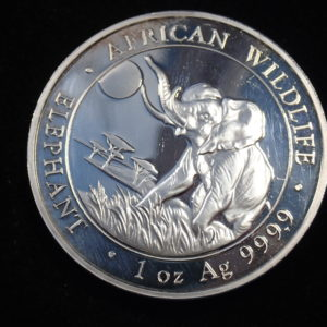 2016 Solid 999.9 Silver 1 oz  Somali 100 Shillings African Elephant #21