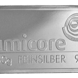 100 Gram Fine 999.0 Umicore Silver Bullion Bar #