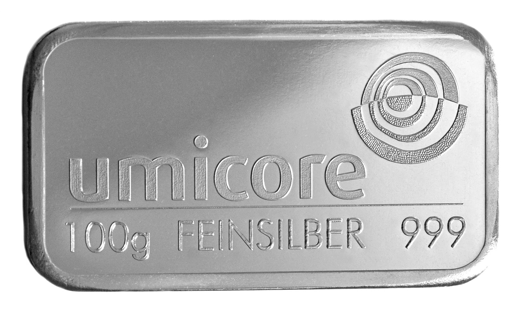 100g - 100 Gram Fine 999.0 Umicore Silver Bullion Bar #