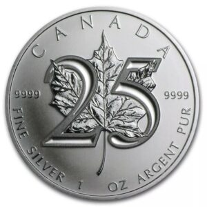 1 oz 2013 Canadian Maple Leaf 25th Anniversary Fine Silver Coin $5