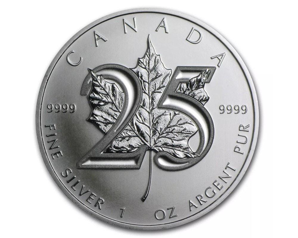 2013 - 1 oz 2013 Canadian Maple Leaf 25th Anniversary Fine Silver Coin $5