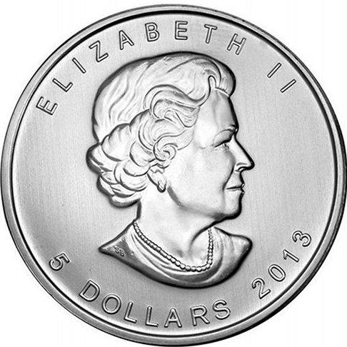2013a - 1 oz 2013 Canadian Maple Leaf 25th Anniversary Fine Silver Coin $5