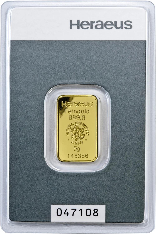 5.0 gram Fine Heraeus 24 Carat Gold 999.9 24k Gold #265