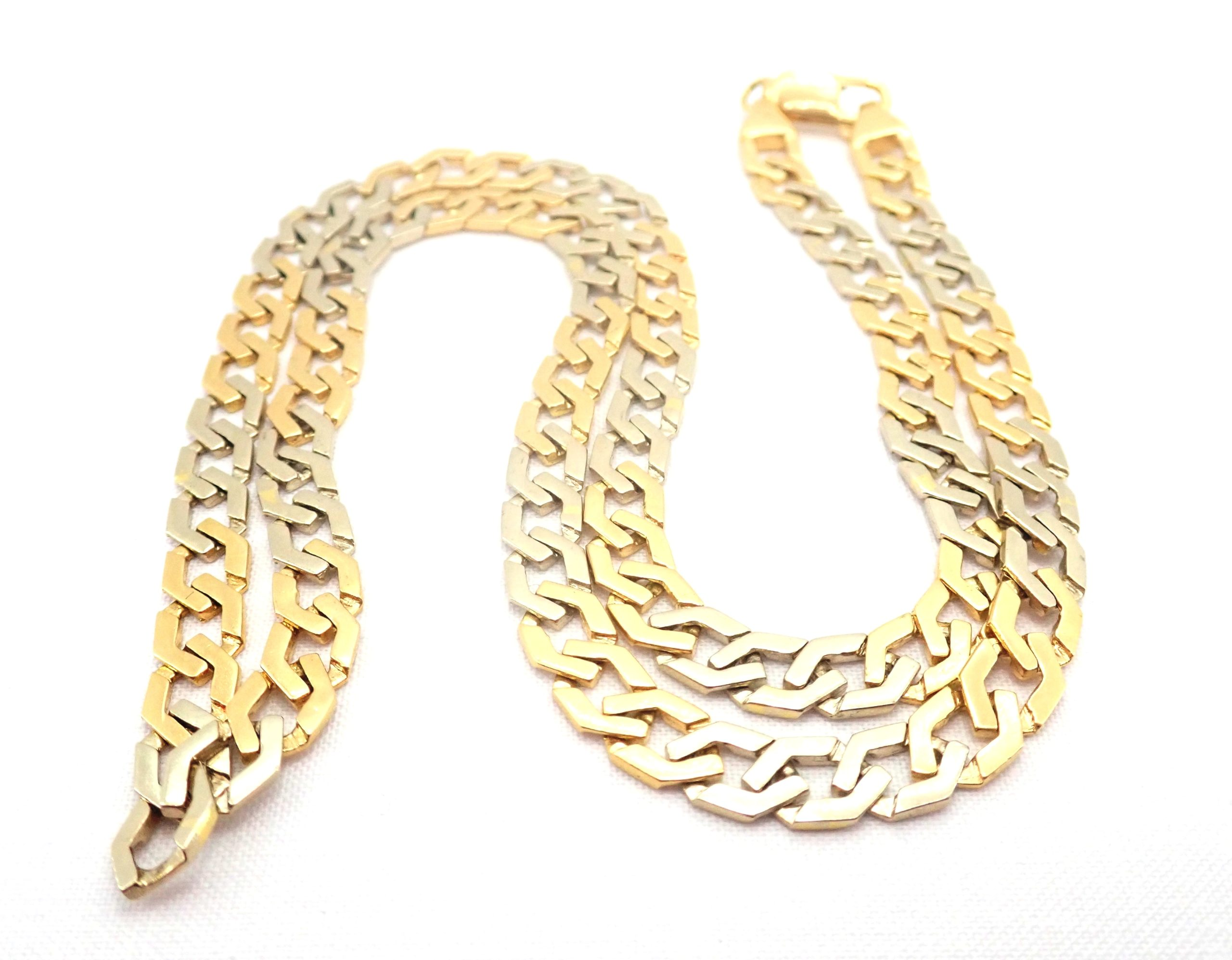 18ct Two Tone Gold Fancy Flat Linked Curb Chain Lobster Claw Clasp 20″ – 33.3 gms #5311
