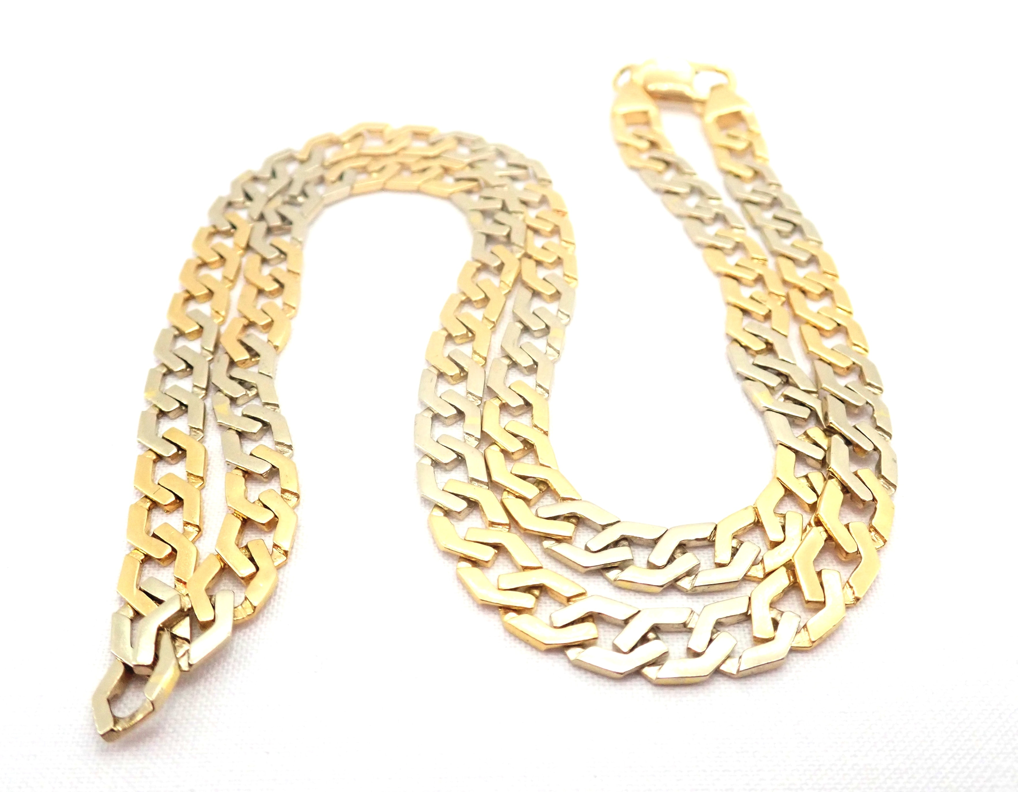 "AA000680 - 18ct Two Tone Gold Fancy Flat Linked Curb Chain Lobster Claw Clasp 20"" - 33.3 gms #5311"