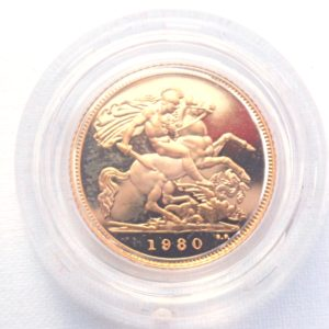 1980 Proof Gold Half Sovereign Red Boxed 22k Elizabeth II 2nd Portrait #175