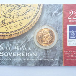 2000 Gold Full Sovereign 22k Elizabeth II 4th Portrait #350