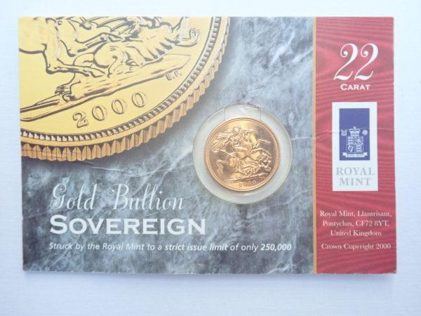 2000 Gold Full Sovereign 22k Elizabeth II 4th Portrait #350