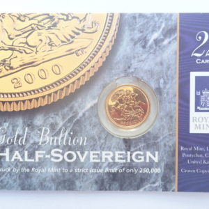2000 Proof Gold Half Sovereign 22k Elizabeth II 4th Portrait #175