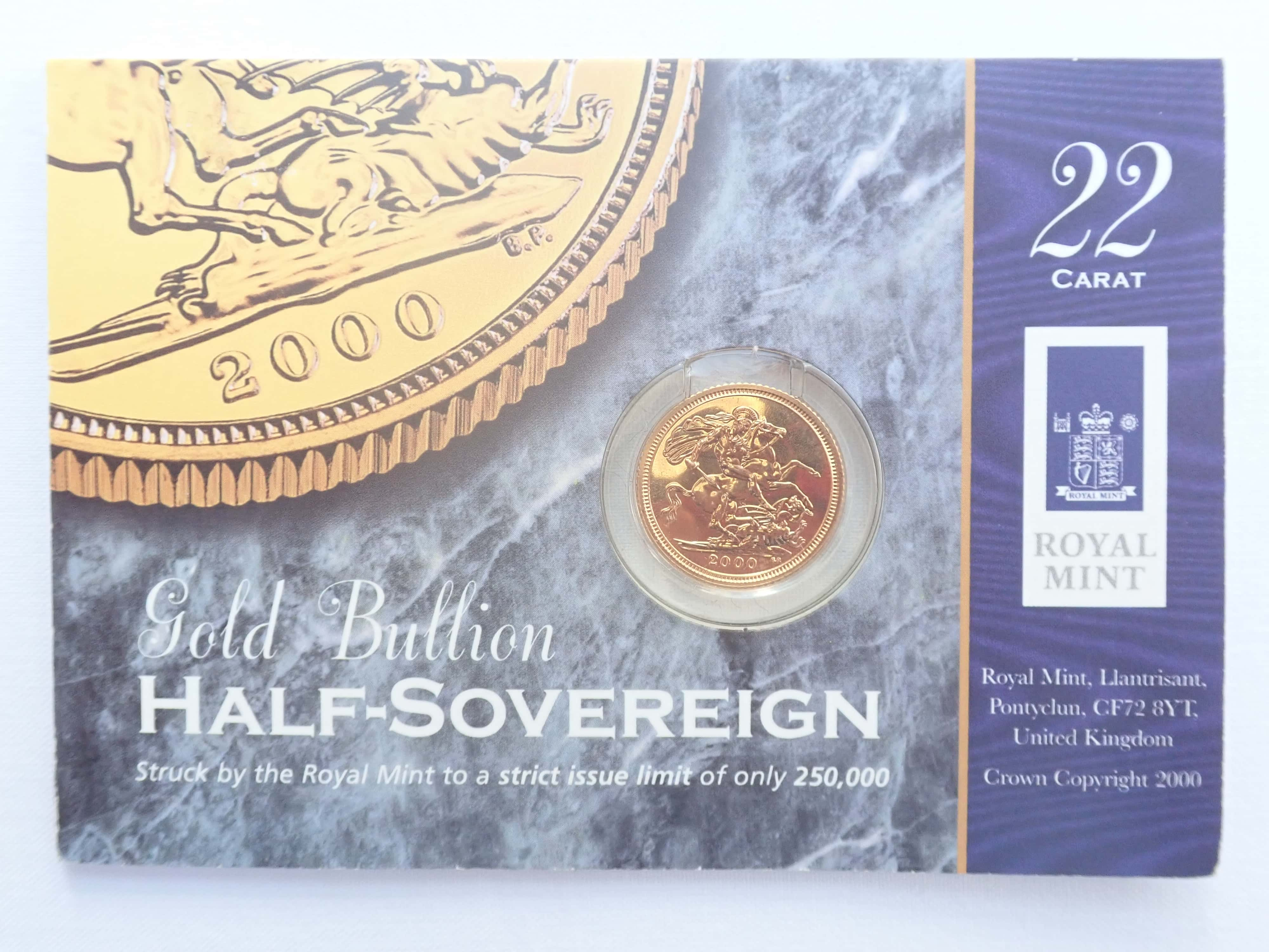 AA000737 - 2000 Proof Gold Half Sovereign 22k Elizabeth II 4th Portrait #175