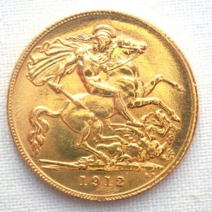 1912 Gold Half Sovereign Coin – King George V- London Mint #161