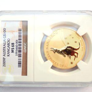 NGC Graded 2009 1oz Australian Nugget Kangaroo $100 Dollars Coin MS68 #0041