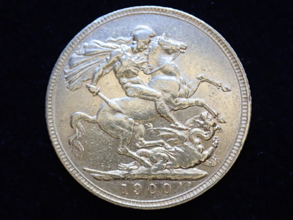 1900 Gold Full Sovereign Coin – Queen Victoria Old Head – London Mint #a355