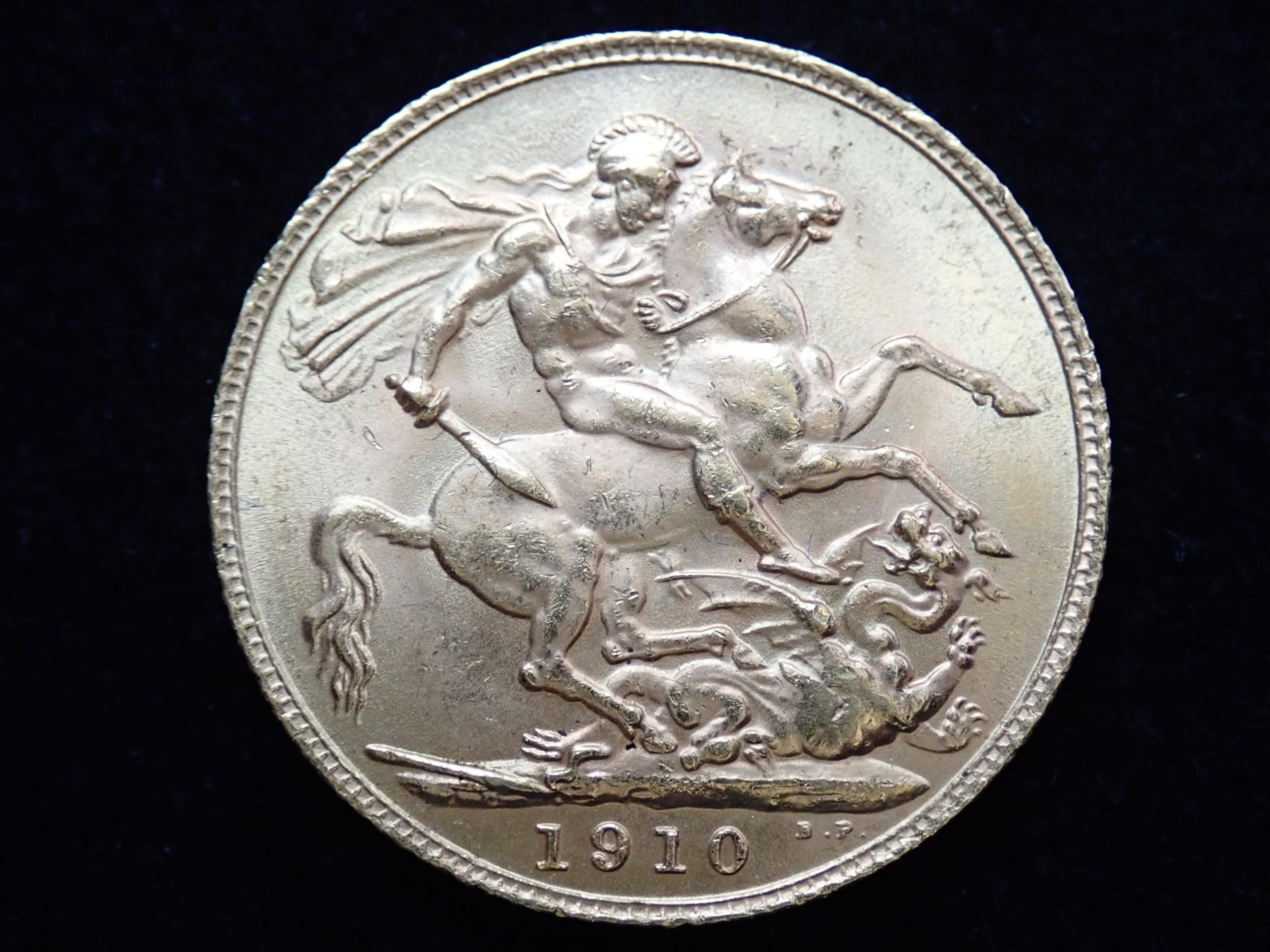 1910 22ct Gold Full Sovereign King Edward VII Coin London Mint A.U #553