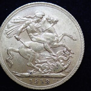 1913 Gold Full Sovereign Coin – King George V- London Mint #355
