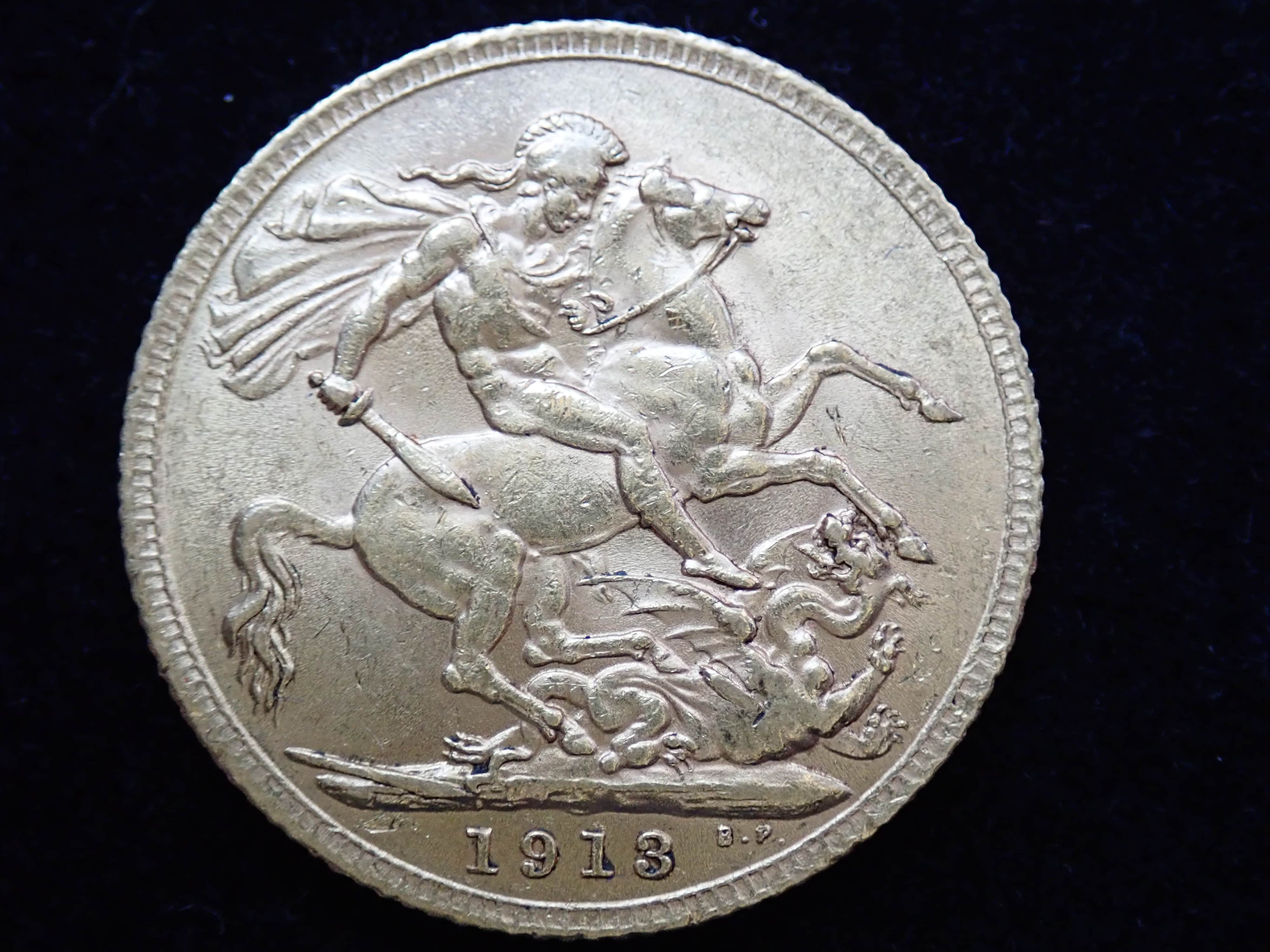 AA000814 - 1913 Gold Full Sovereign Coin - King George V- London Mint #355