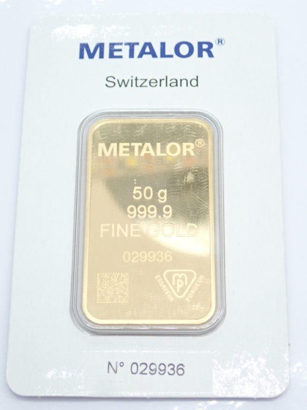 50 gram Swiss Metalor 24 Carat Fine Gold 999.9  #